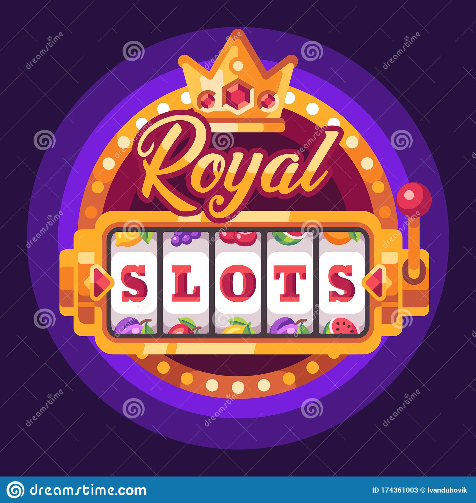 Royal Slots Golden Slot Machine Casino Flat Illustration Stock Vector Illustration Of Design Vector 174361003