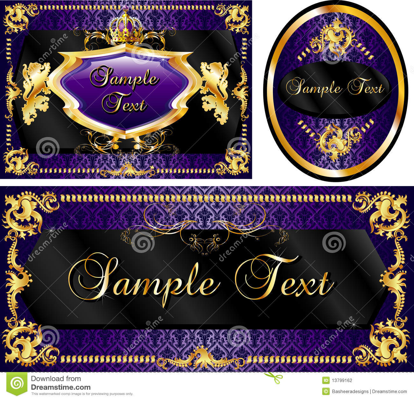 Royal Template Set Purple Stock Photography - Image: 13799162