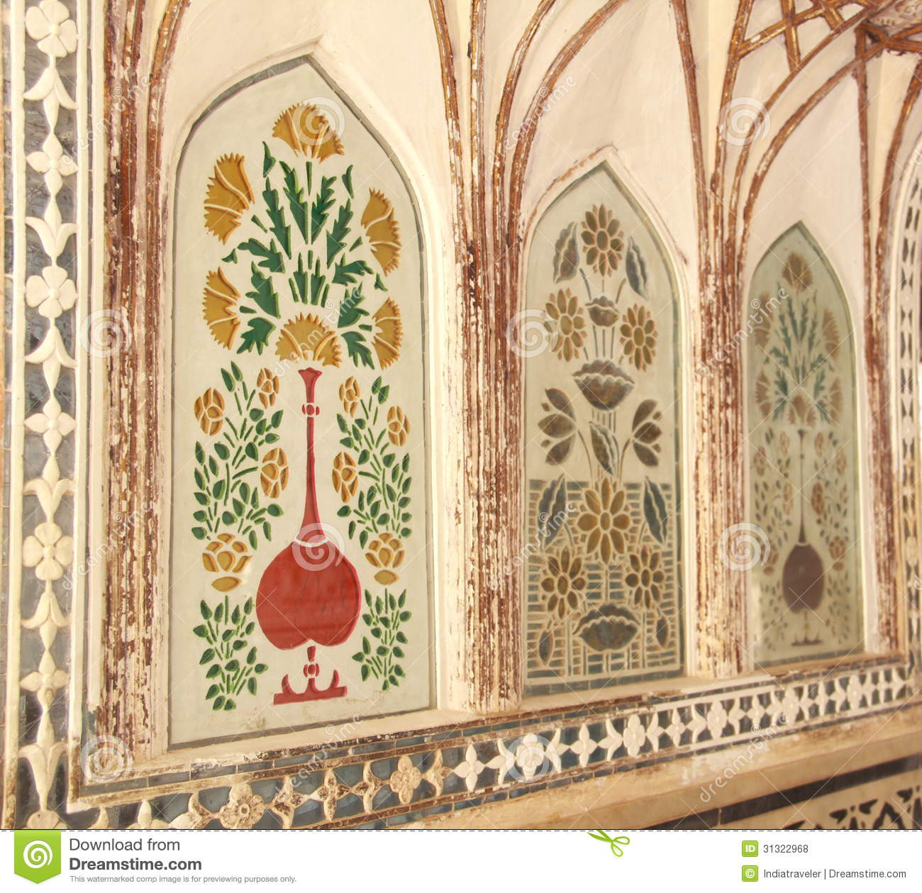 Royal Wall Paintings In Amber Fort Stock Photo Image Of Paint