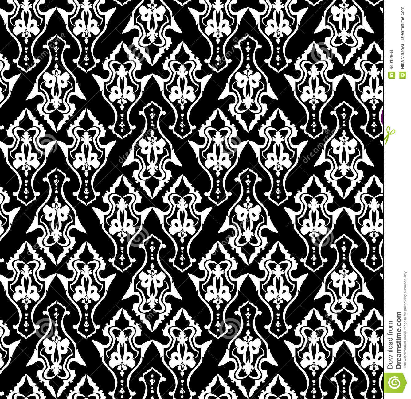 Royal Wallpaper With Classic Black And White Seamless Floral