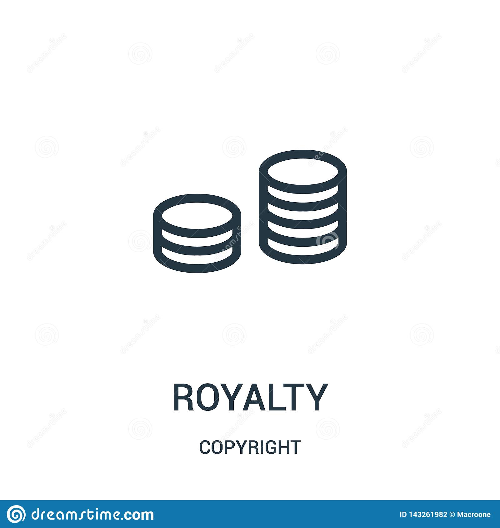 royalty icon vector from copyright collection. Thin line royalty outline icon vector illustration