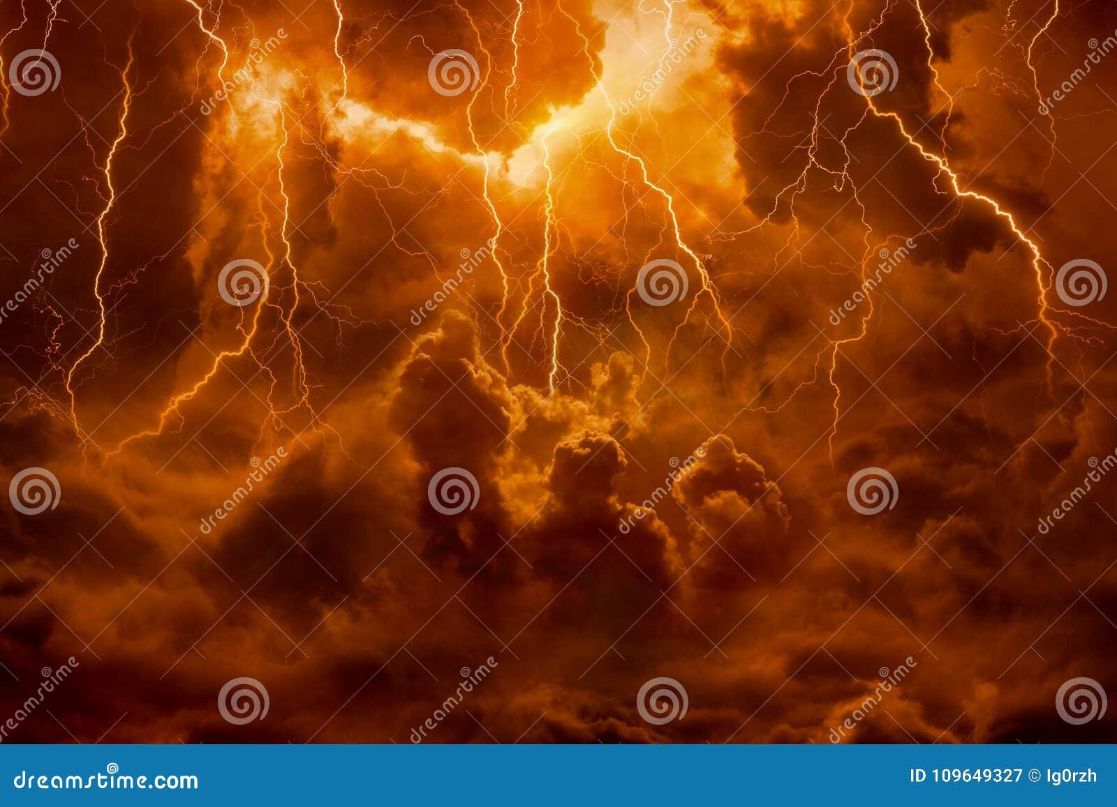 Royaume d enfer, foudres lumineuses en ciel apocalyptique, Jour du jugement dernier,