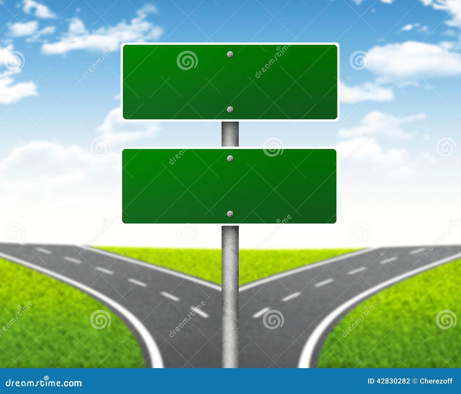 Rozdroże drogowy znak