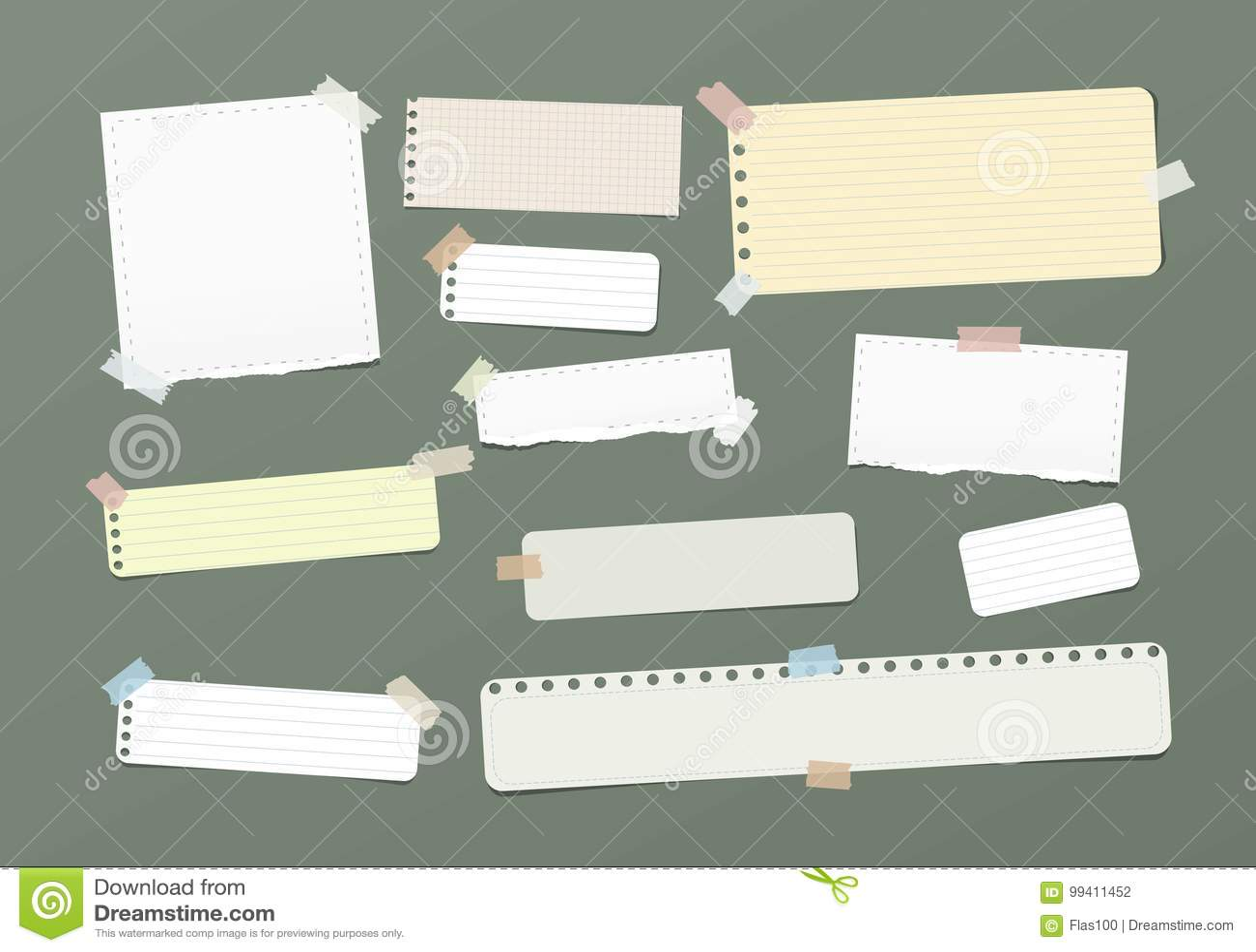 Rozdzierający puste miejsce, rządząca notatka, notatnik, copybook papierowi paski wtykał z kolorową kleistą taśmą na zielonym tle