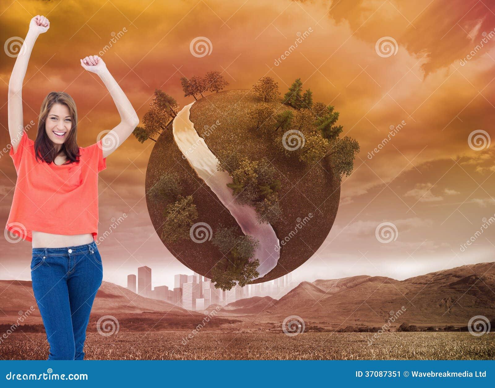 Download Roześmiani Nastoletni Jest Ubranym Przypadkowi Ubrania Podczas Gdy Podnoszący Ona Ręki Obraz Stock - Obraz złożonej z środowisko, digitalis: 37087351