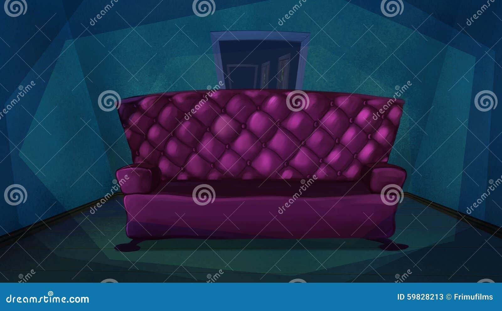 Roze bank in blauwe woonkamer stock illustratie   afbeelding: 59828213