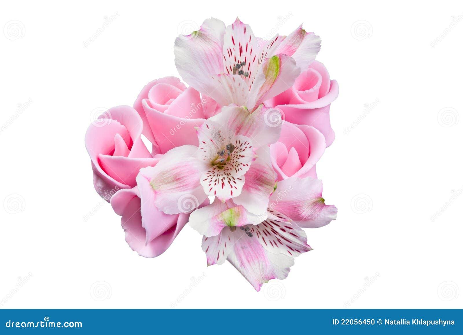 Roze bloemen geglaceerde decoratie voor cake stock foto for Bloemen decoratie