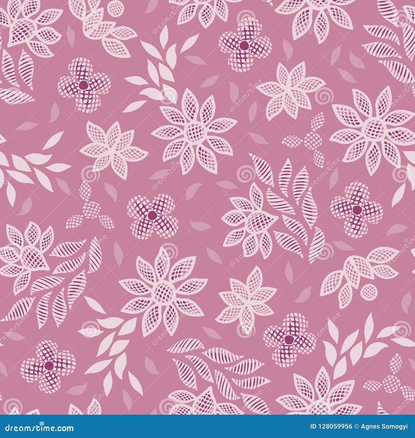Roze bloemen naadloze vector het patroonachtergrond van het kantborduurwerk