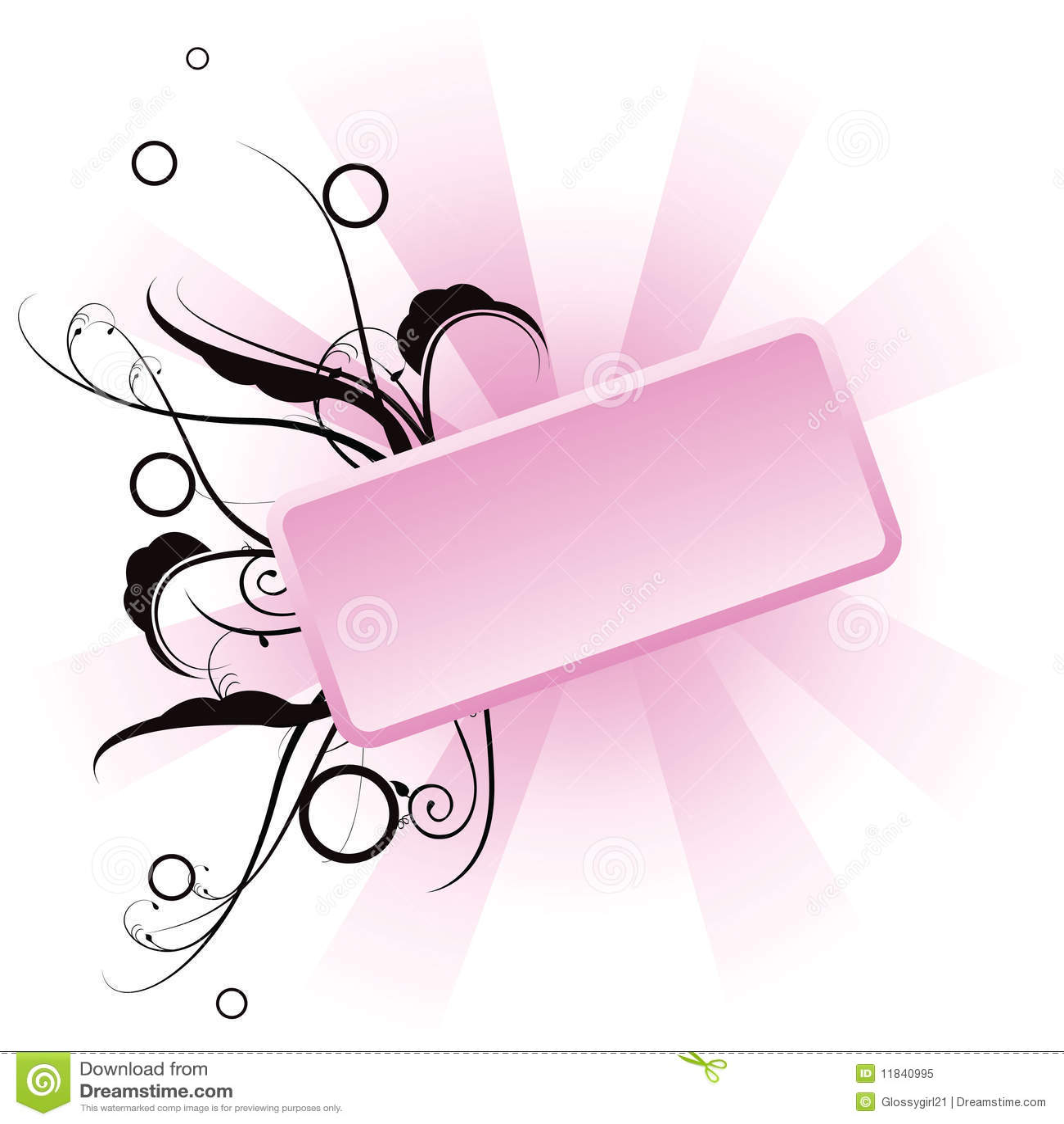 Roze bloemenbanner