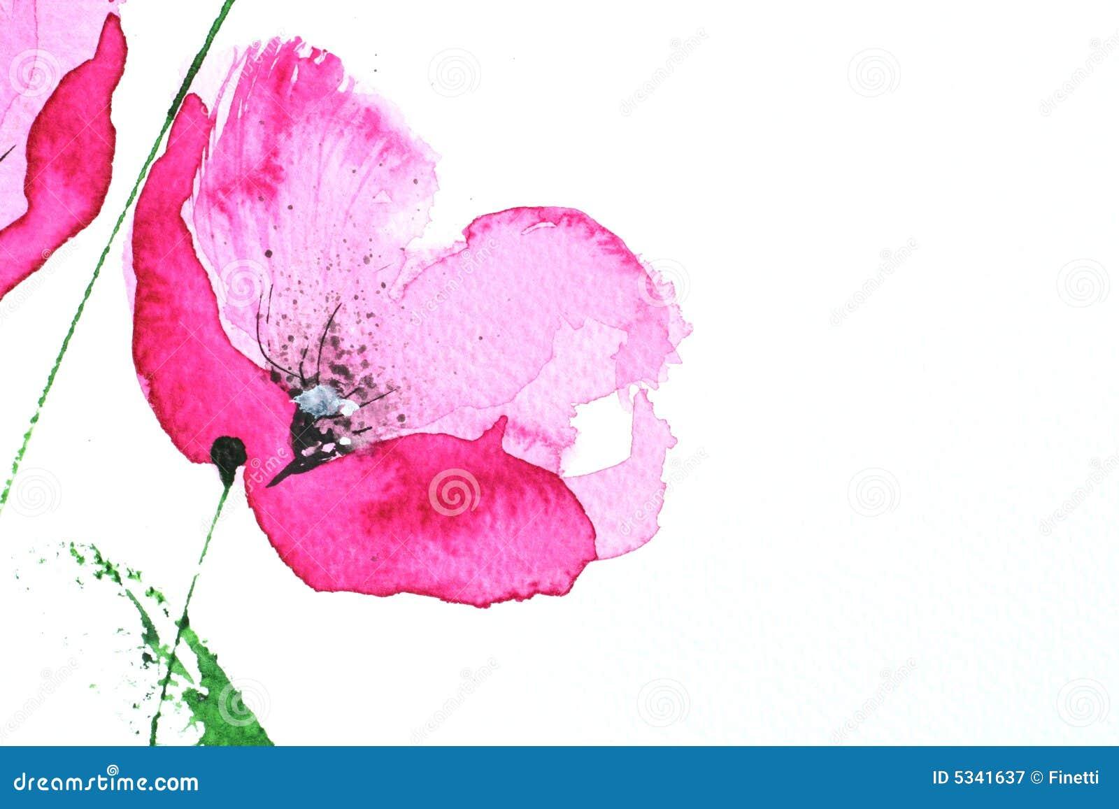 Roze de papaverbloem van Watercolour