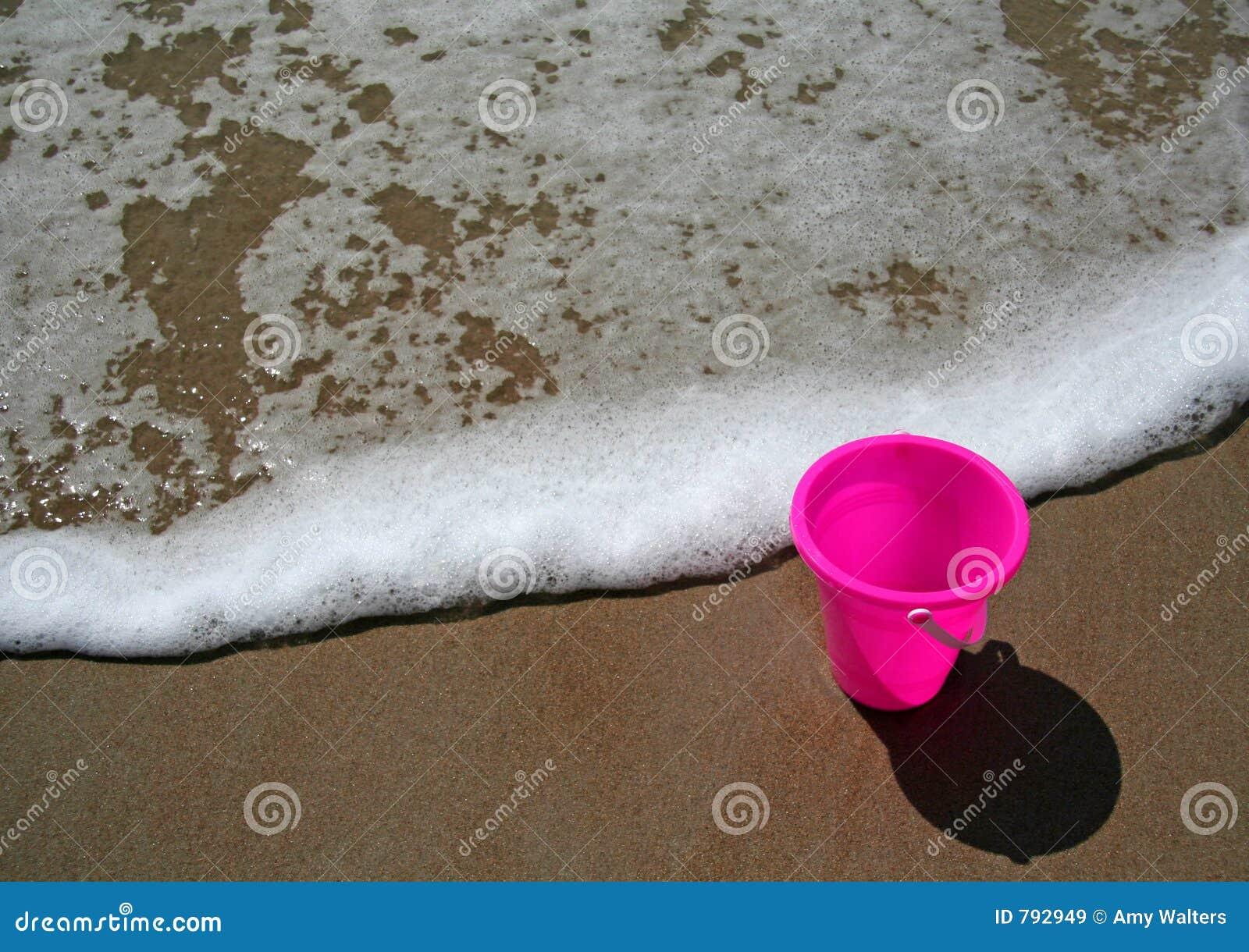 Roze emmer bij het strand
