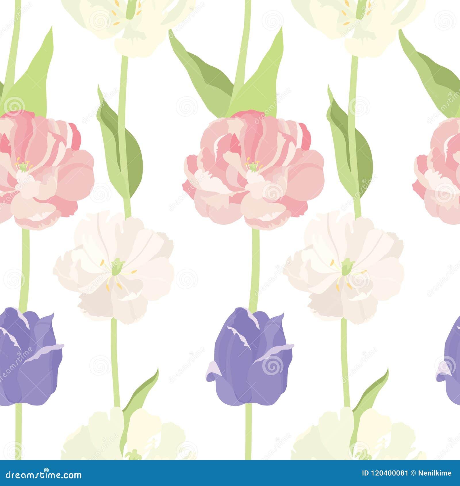 Roze en lilac tulpen Naadloos patroon