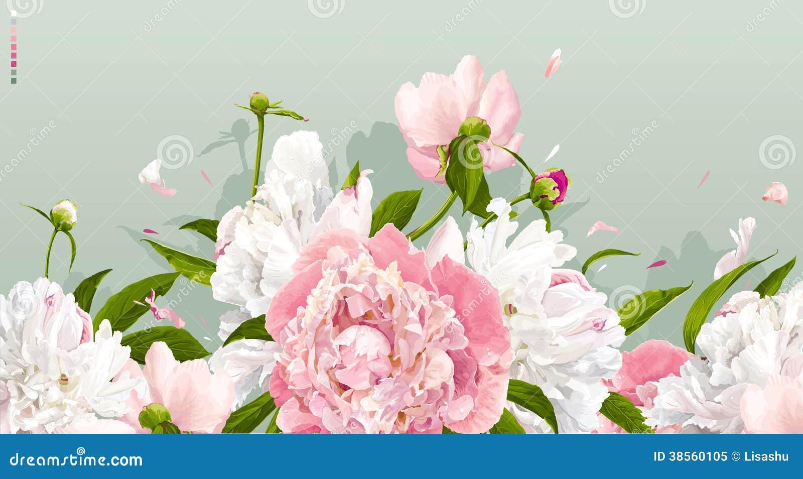 Roze en witte pioenachtergrond