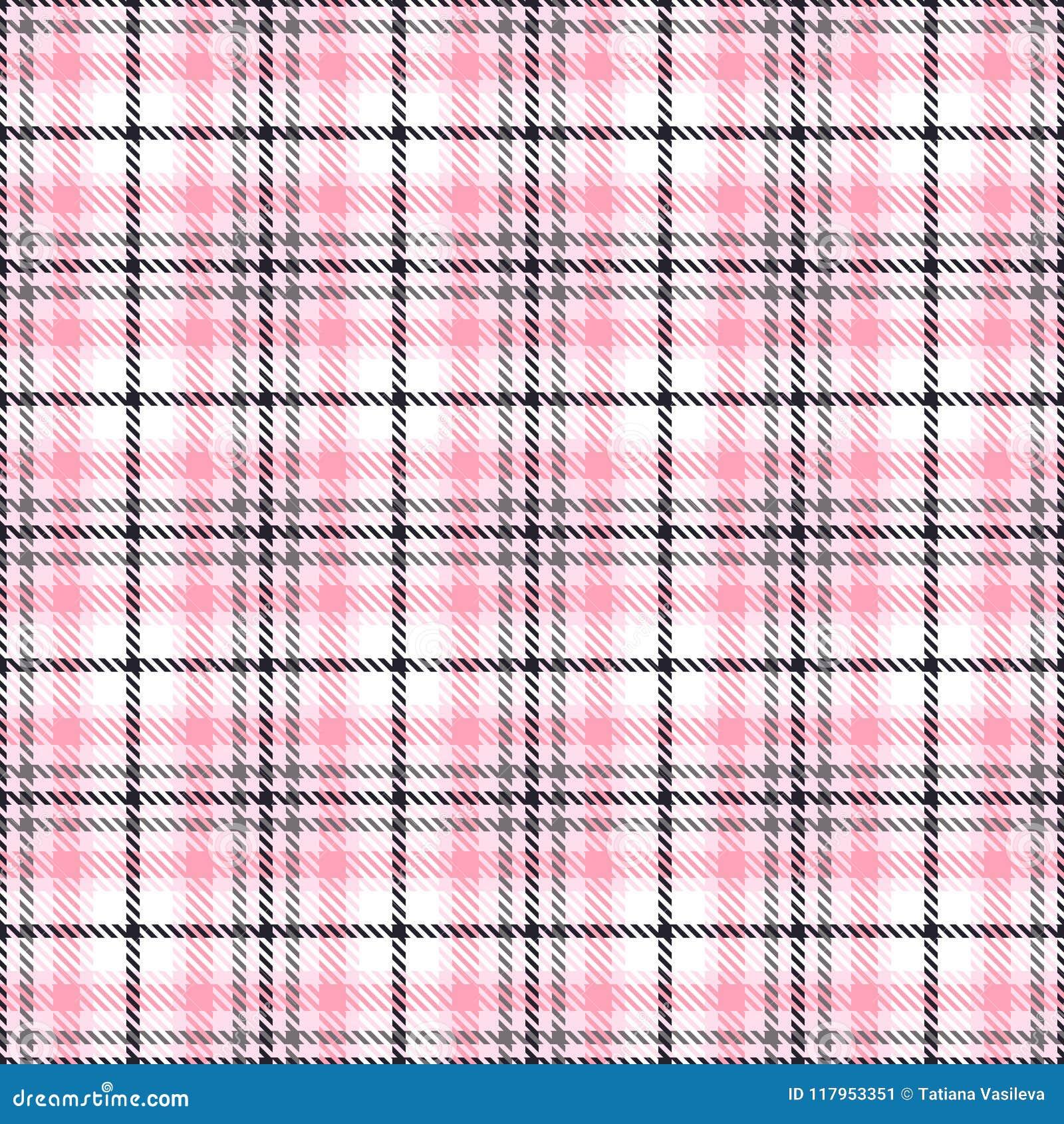 Roze geruit Schots wollen stof naadloze vectorpatronen Geruite plaidtextuur Geometrische vierkante achtergrond voor stof