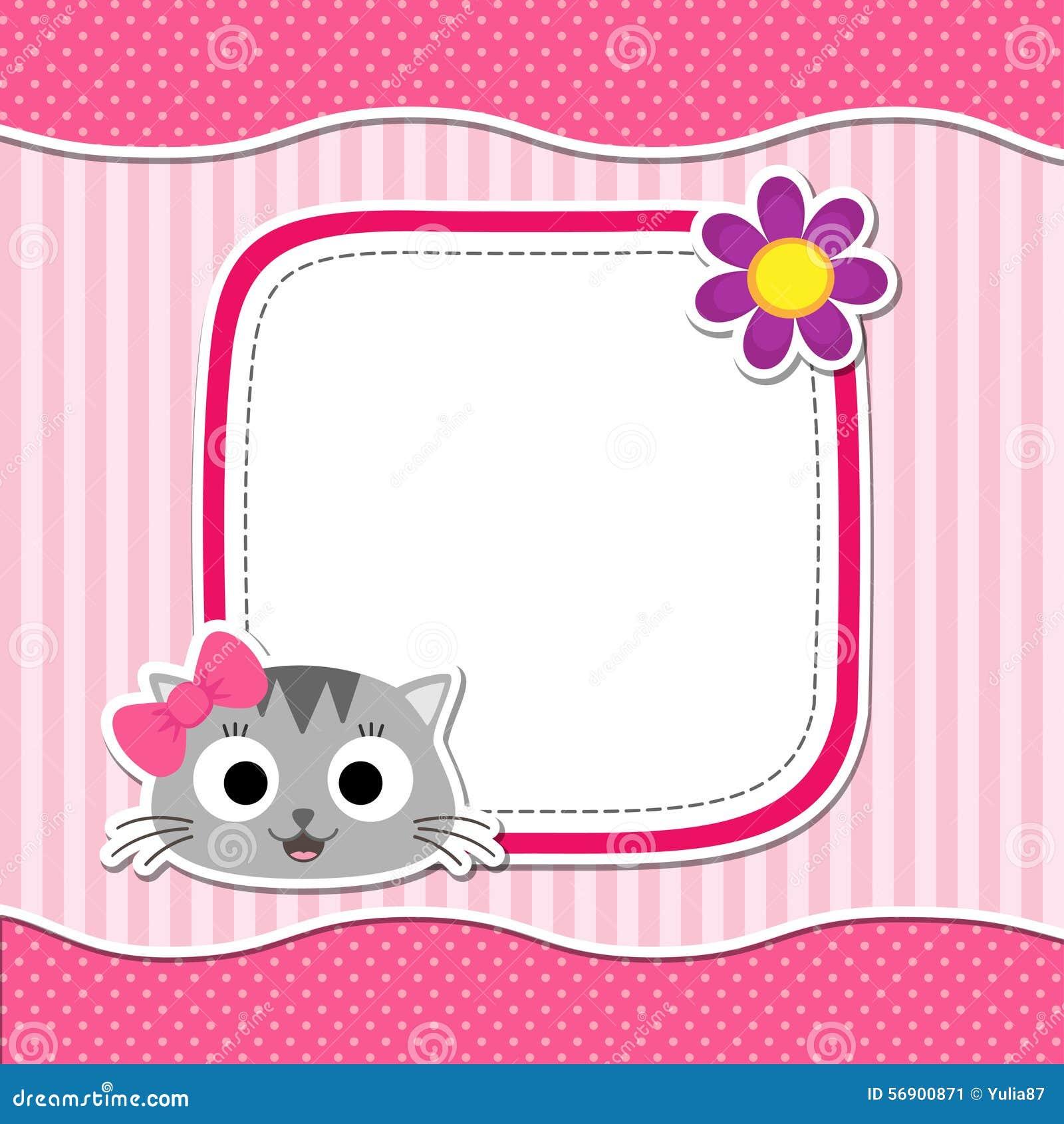 Roze kaart met kat