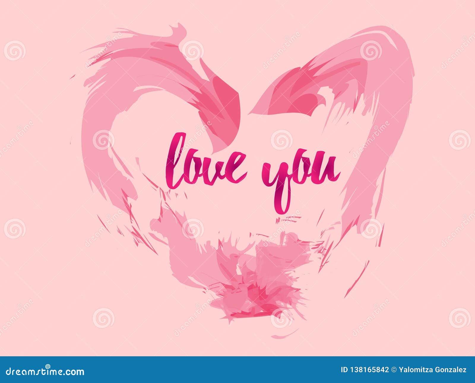 Roze liefdekaart met de brief die I-liefde u zegt, perfect voor achtergrond of om de dag van valentijnskaarten te geven