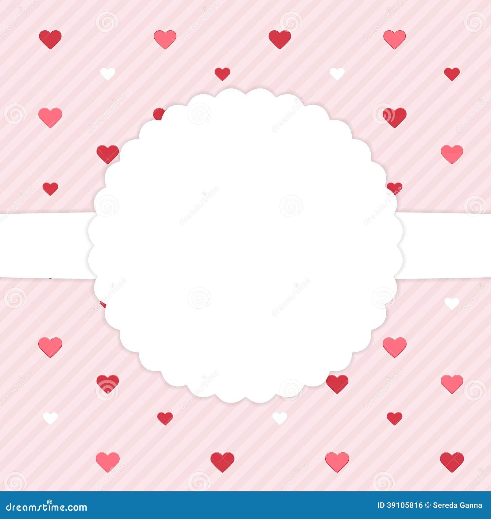 Roze malplaatjekaart met rode harten