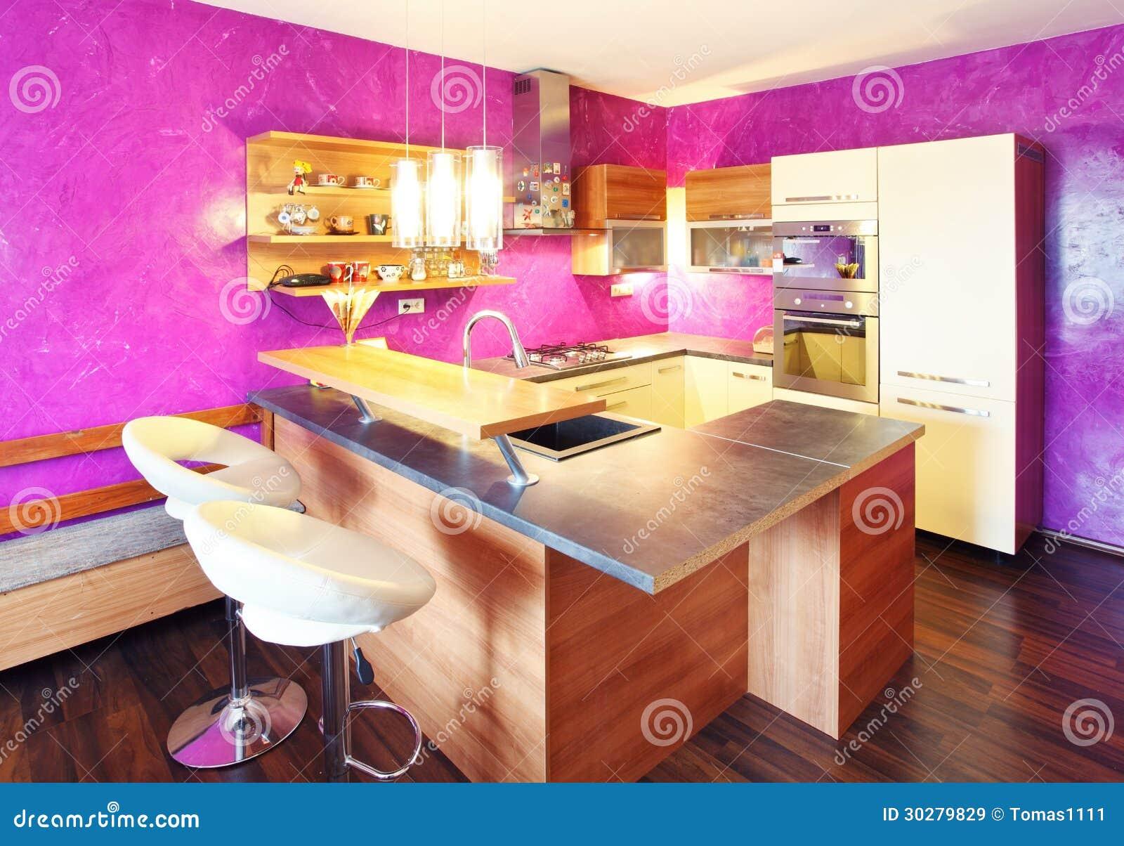 Keuken Moderne Bar : Moderne keuken met bar stock afbeelding afbeelding bestaande uit