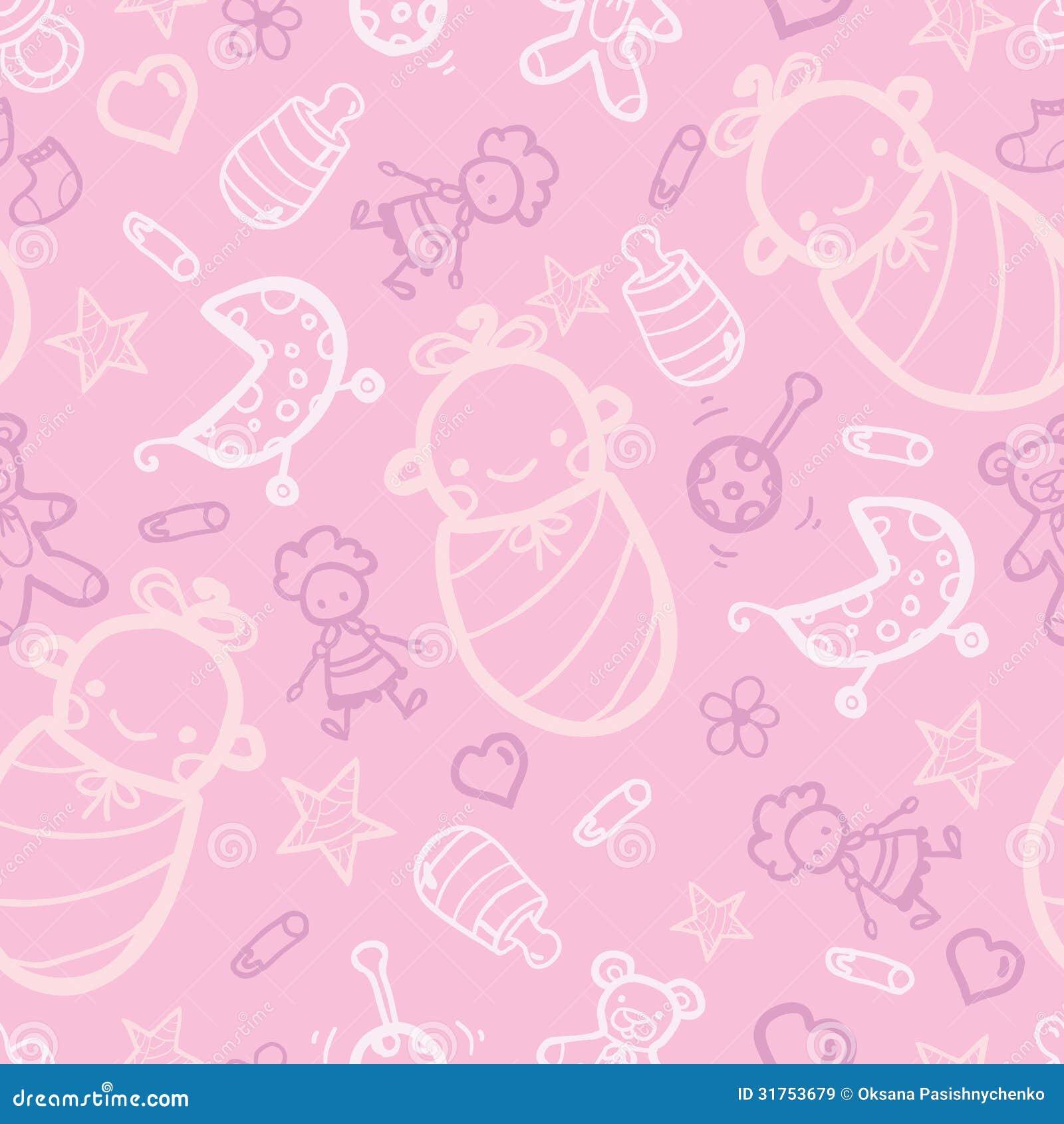 Roze Naadloze Het Patroonachtergrond Van Het Babymeisje ...