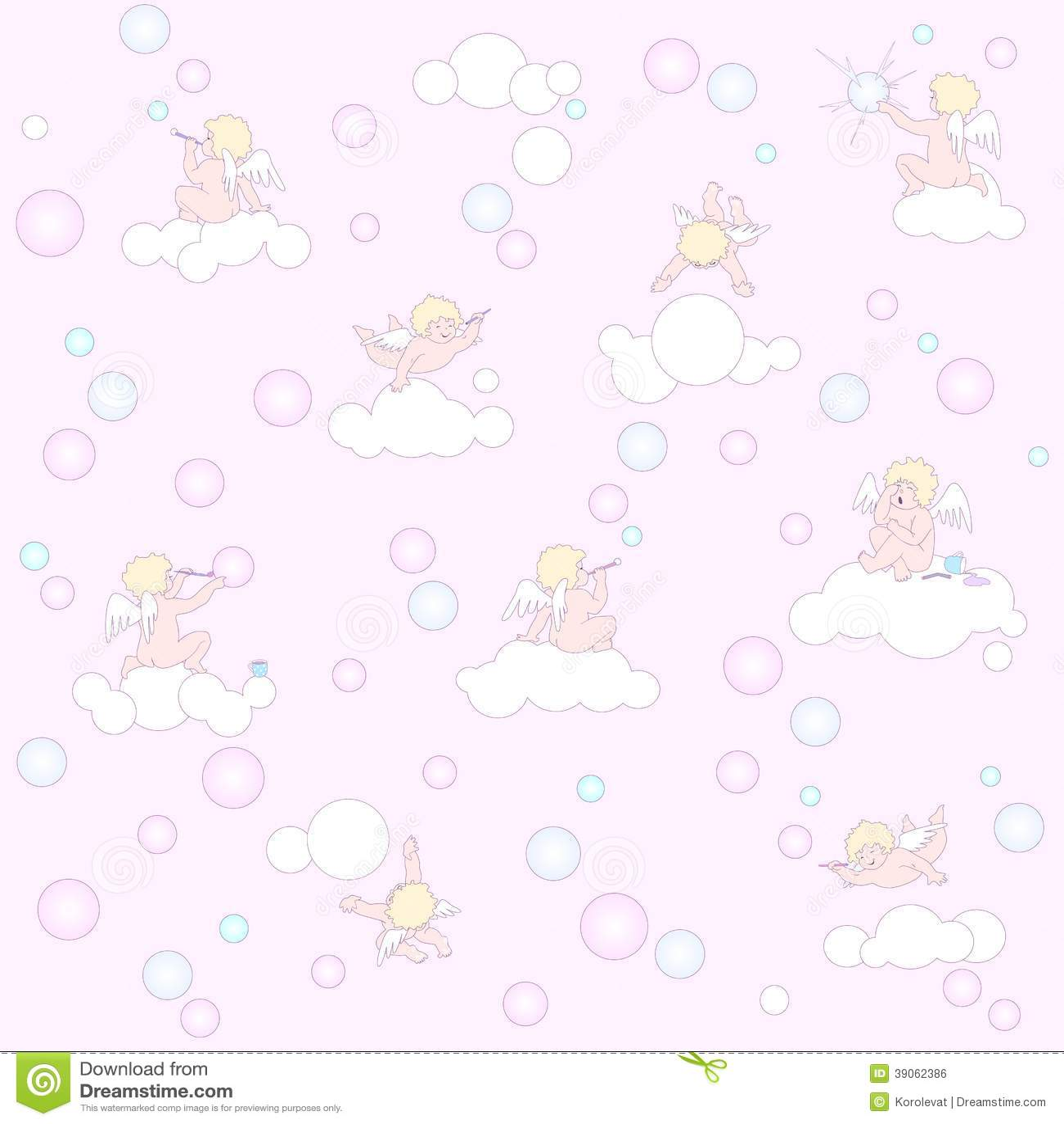 Roze patroon met engelen, wolken en bellen