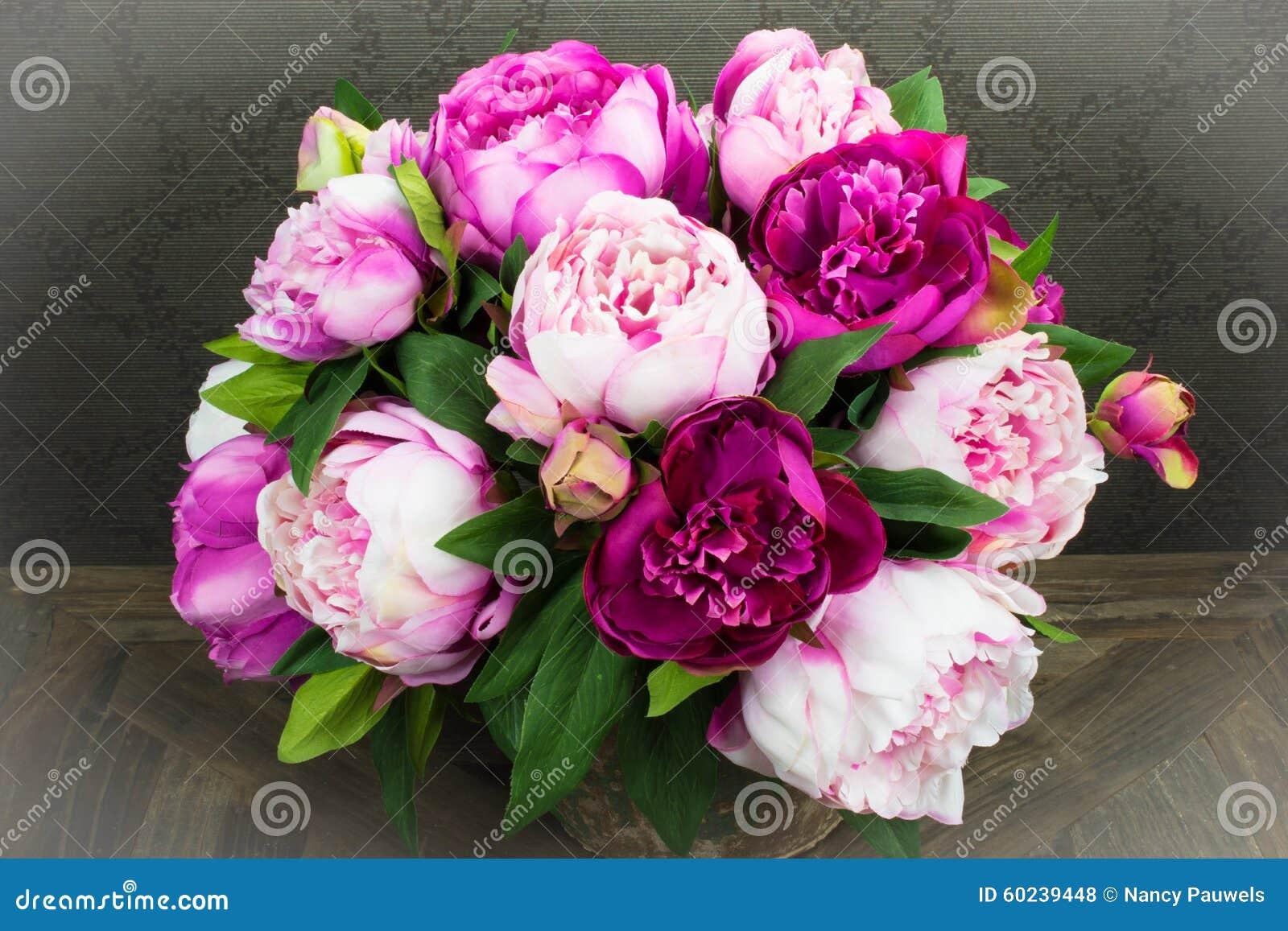 Roze Pioen Rose Flowers Bouquet in Vaas