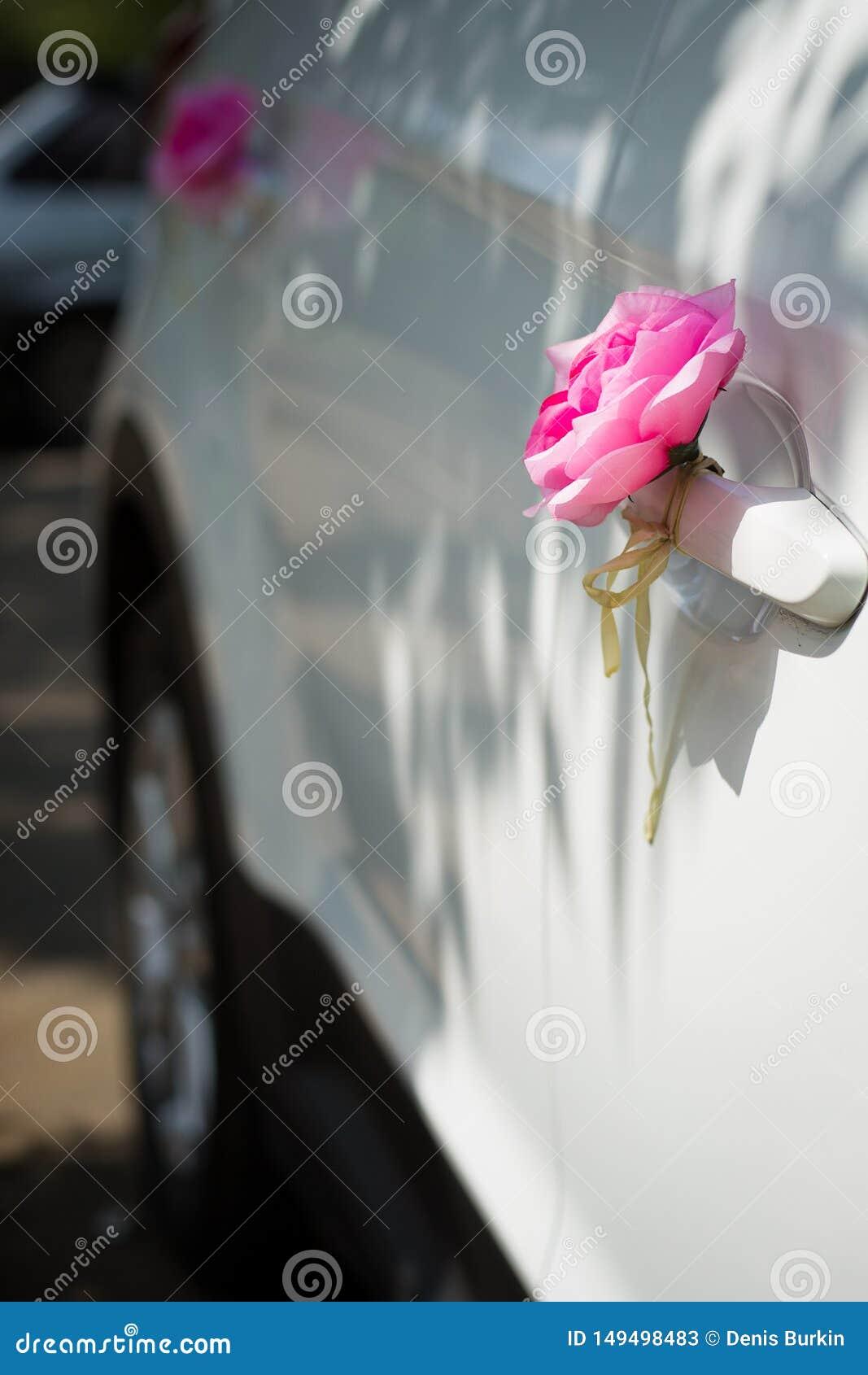 Roze rozen op de autodeur De decoratie van de huwelijksauto Huwelijksoptocht