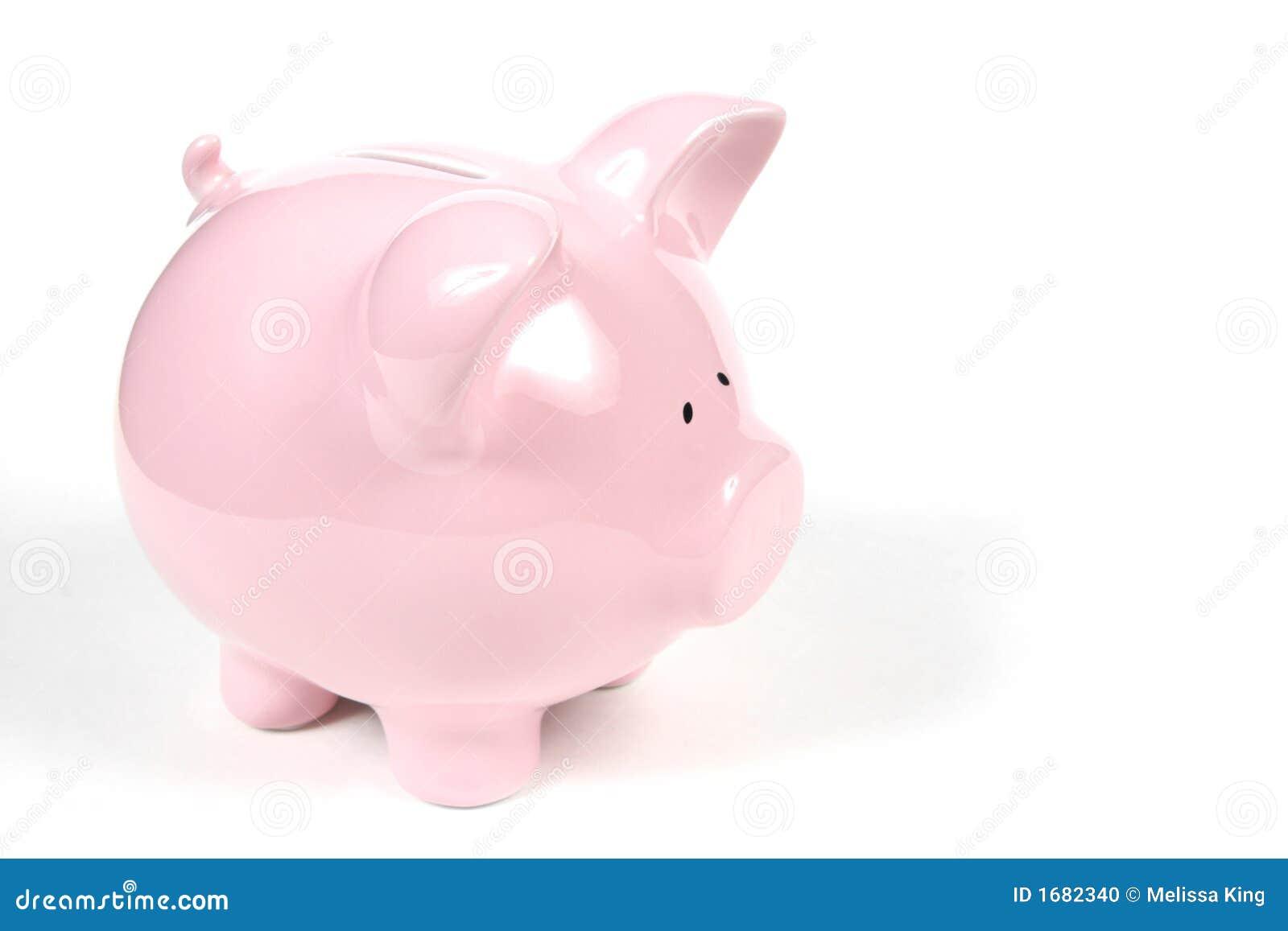 Roze Spaarvarken op witte achtergrond