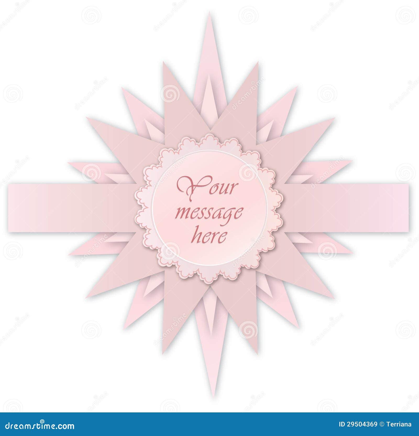 Roze steretiket. De kaart van de groet voor bithday jong geitje of partij