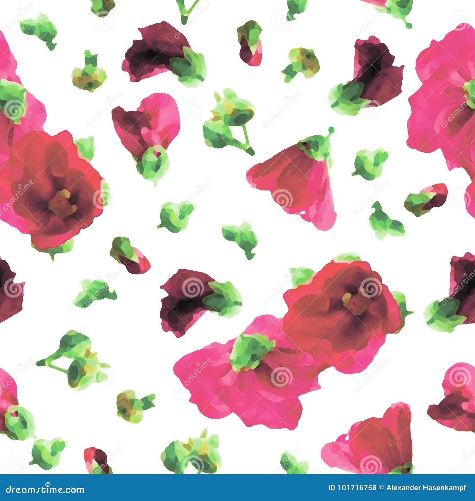 Roze Stokrozen Naadloos Patroon - Illustratie