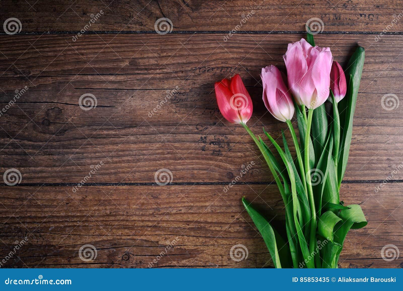 Roze Tulip Flowers op rustieke lijst voor 8 Maart, de Dag van Internationale Vrouwen, Verjaardag, Valentijnskaartendag of Moeders