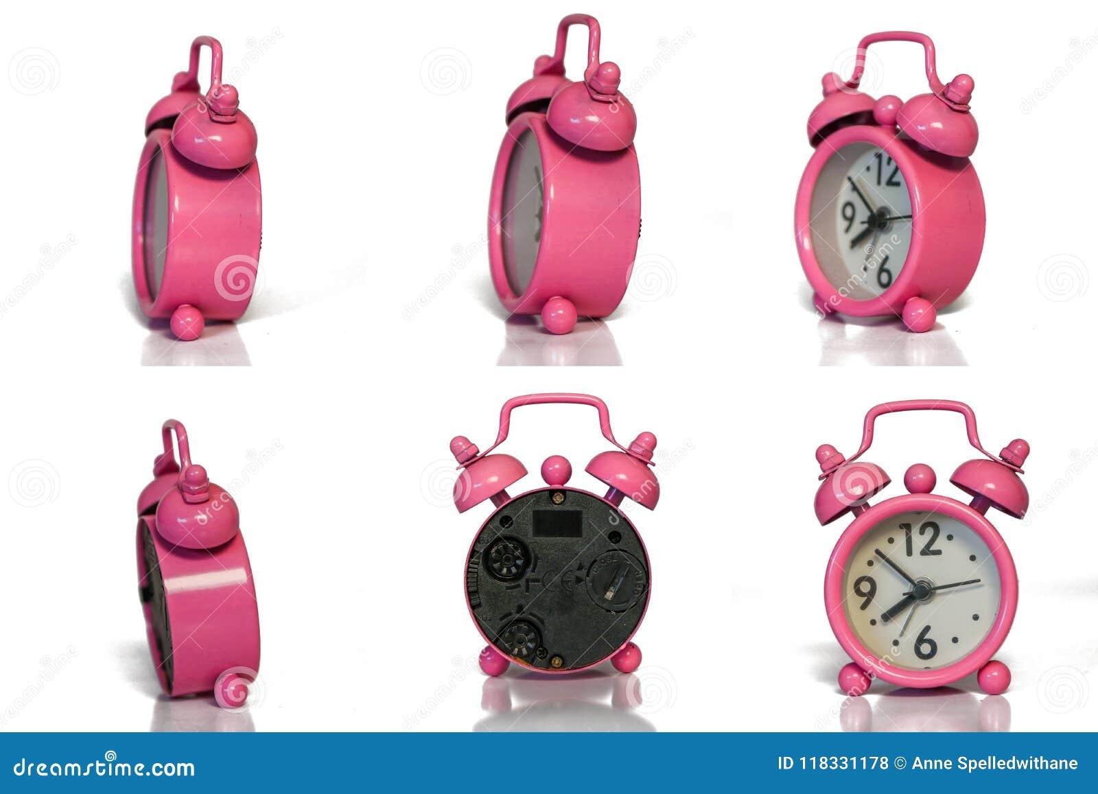 Roze Uitstekende Wekker - Minimaal Ontwerp - Verschillend Hoekensi