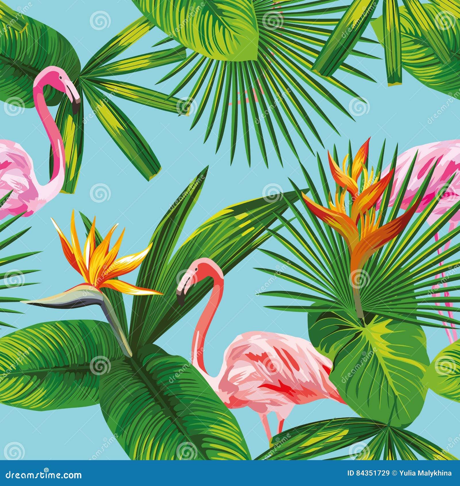 Roze van flamingo tropische bladeren en bloemen naadloze blauwe backgrou