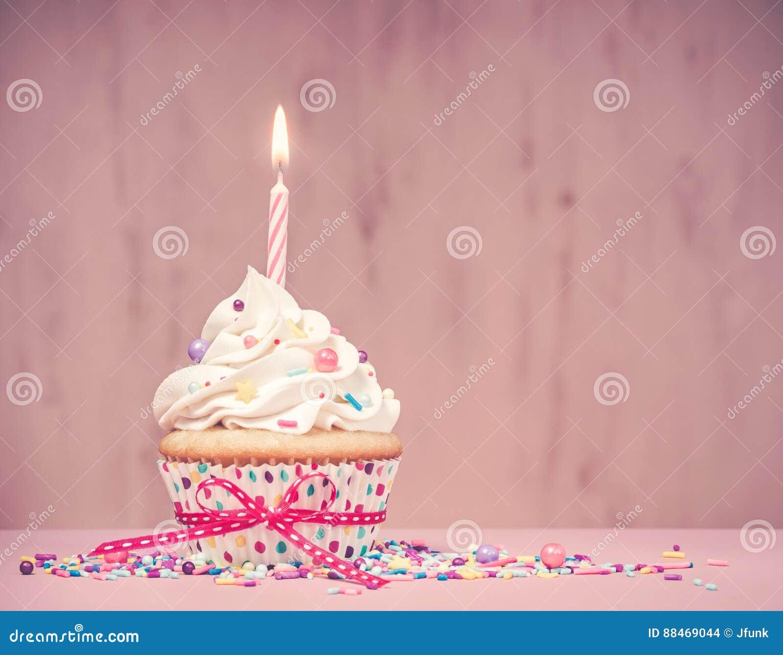 Roze Verjaardag Cupcake