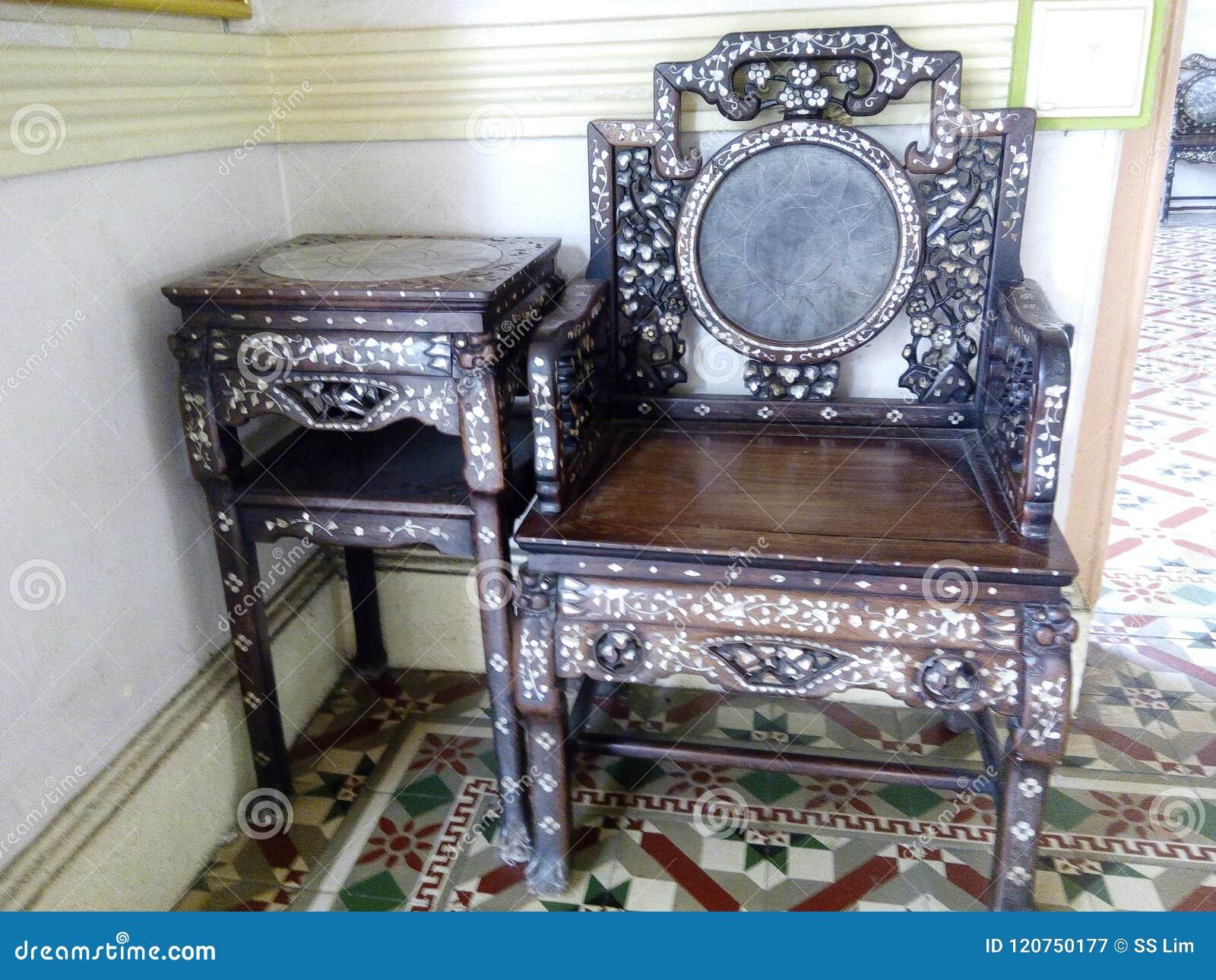 Sidetable Met Marmer.Rozehout Baba Nyonya Side Table Stoel Met Moeder Van De Parel