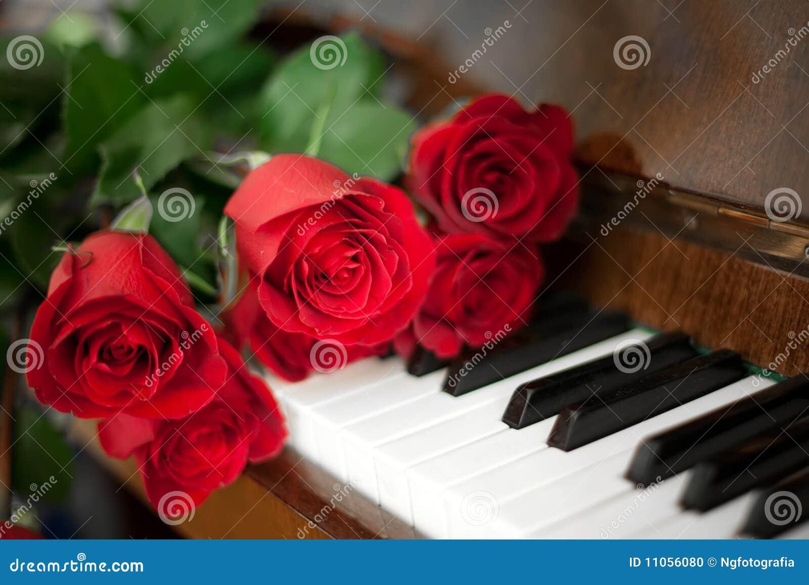 Rozen op piano
