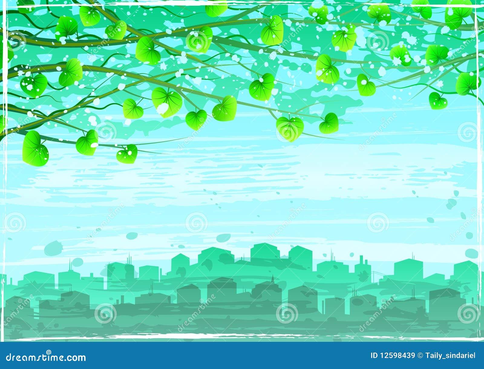 Rozgałęzia się miasta ekologicznego zielonego grunge drzewa