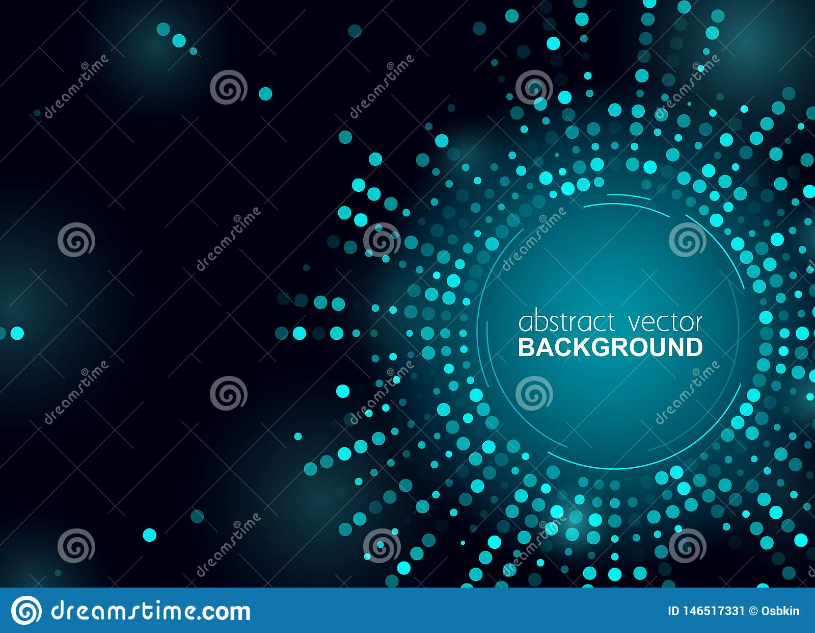Rozjarzone halftone kropki okrążają błyszczącego błękitnego projekt dla klubu, bawją się, pokazują, zaproszenie Abstrakcjonistycz
