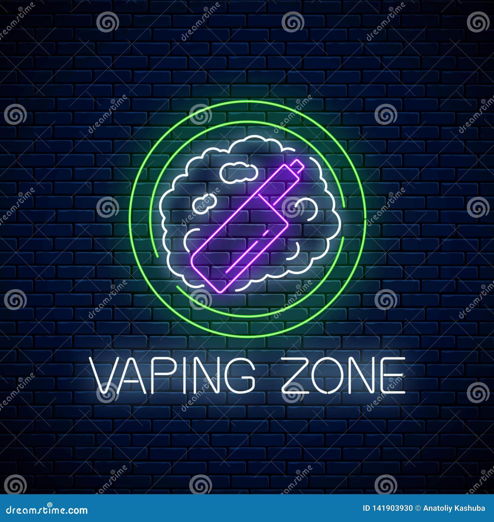 Rozjarzony neonowy znak vaping strefa na ciemnym ściany z cegieł tle Vape zestawu terenu symbol Signboard dymienia miejsce