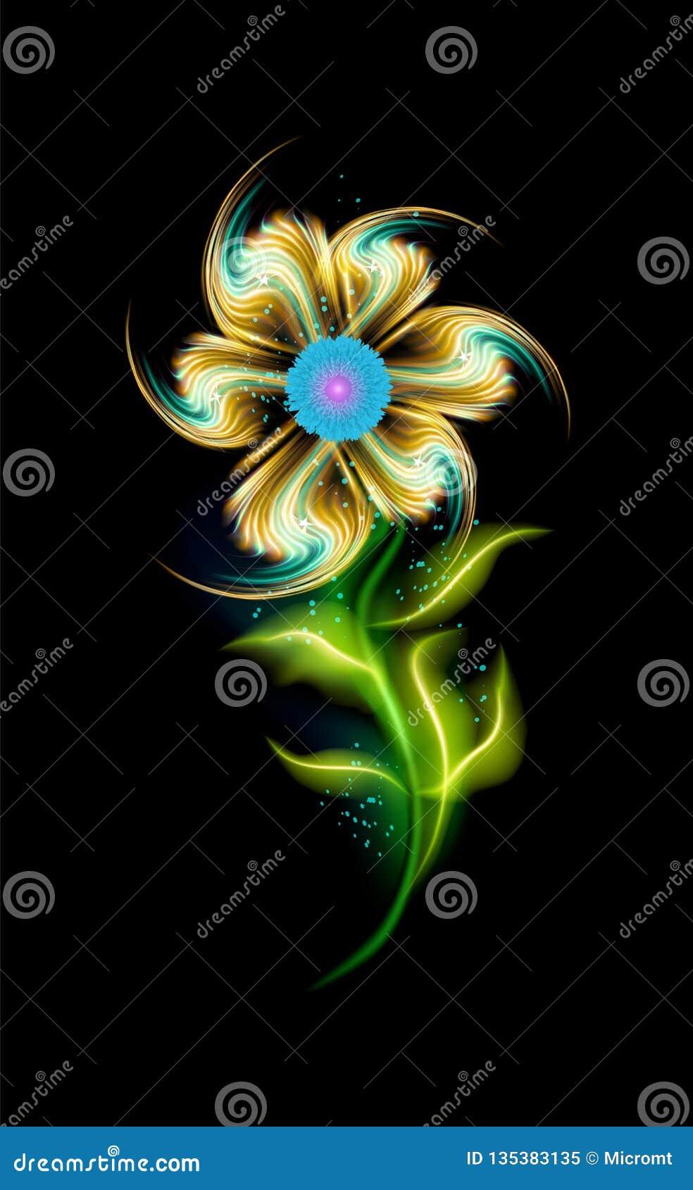 Rozjarzony nowożytny żółty kwiatu wektoru wzór Kolorowy ornamentacyjny element kwiecisty w czarnym tle Piękni modni ornamenty