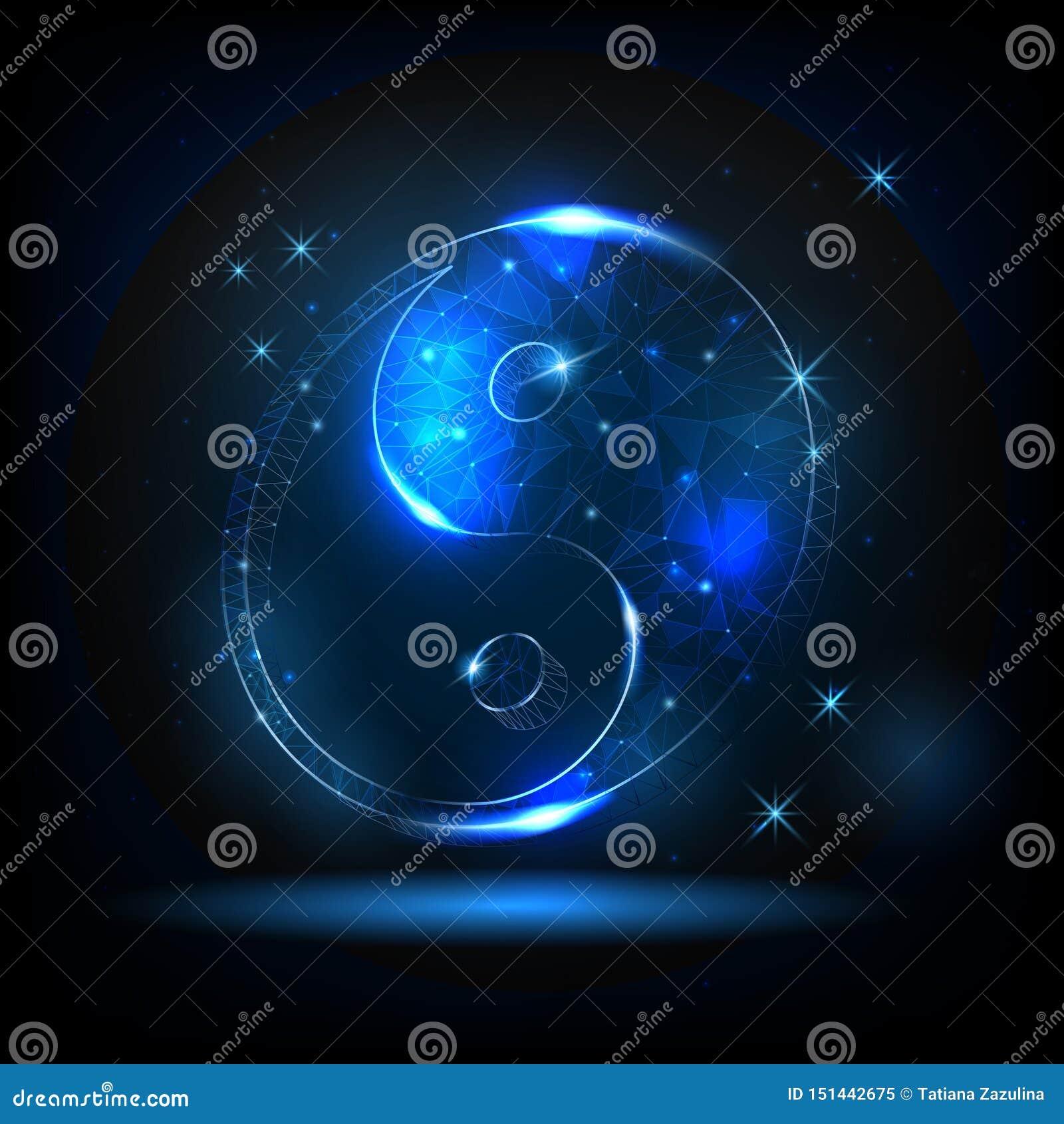 Rozjarzony yin Yang symbol na tle gwiazdy i nocne niebo