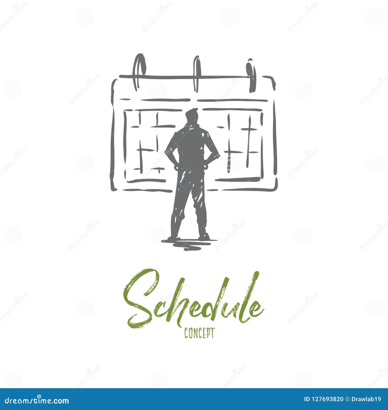 Rozkład, kalendarz, czas, ostateczny termin, wydarzenia pojęcie Ręka rysujący odosobniony wektor