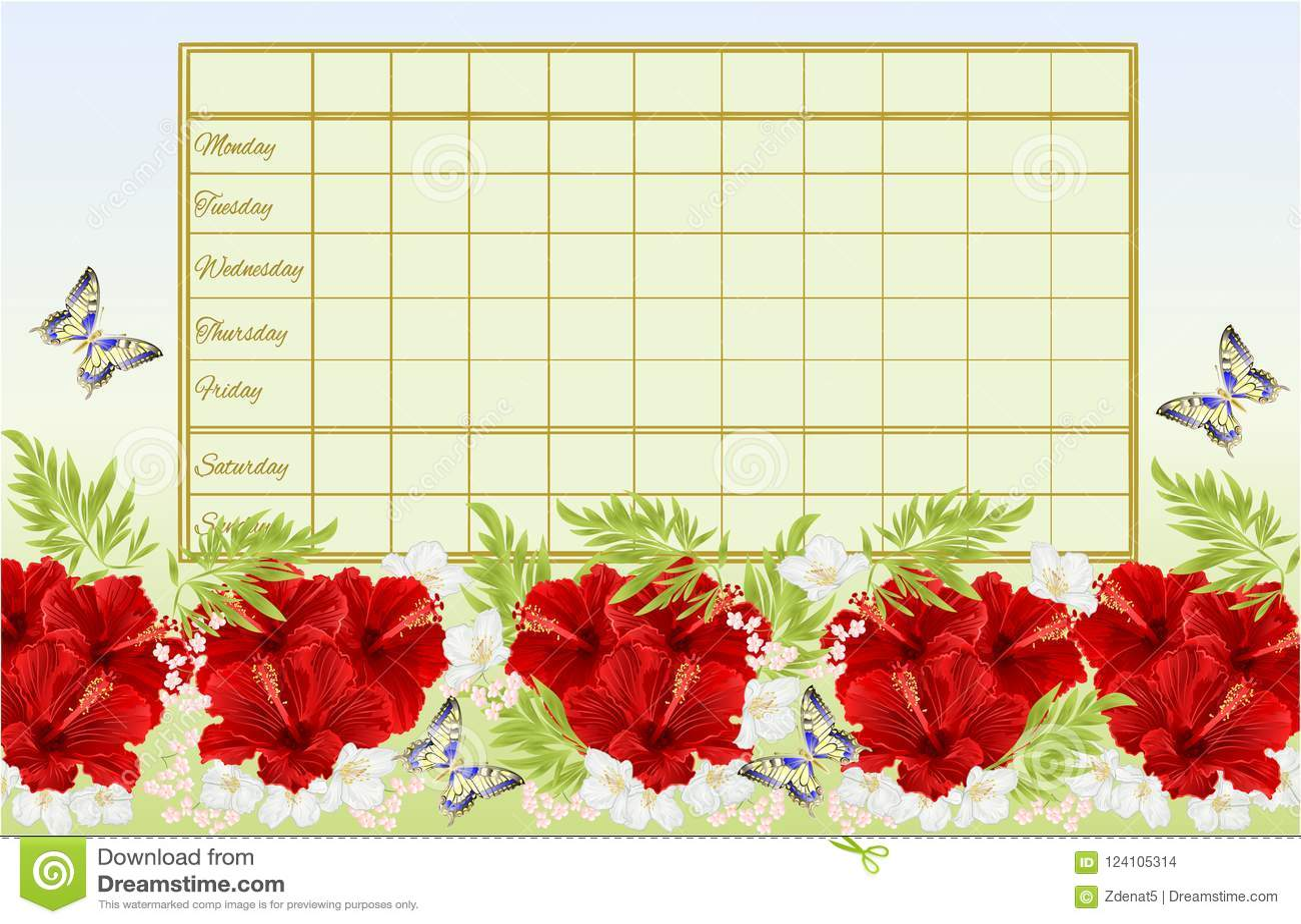 Rozkładu zajęć tygodniowy rozkład z czerwonym poślubnikiem kwitnie z jaśminowego i motyliego rocznika wektorowy Ilustracyjny edit