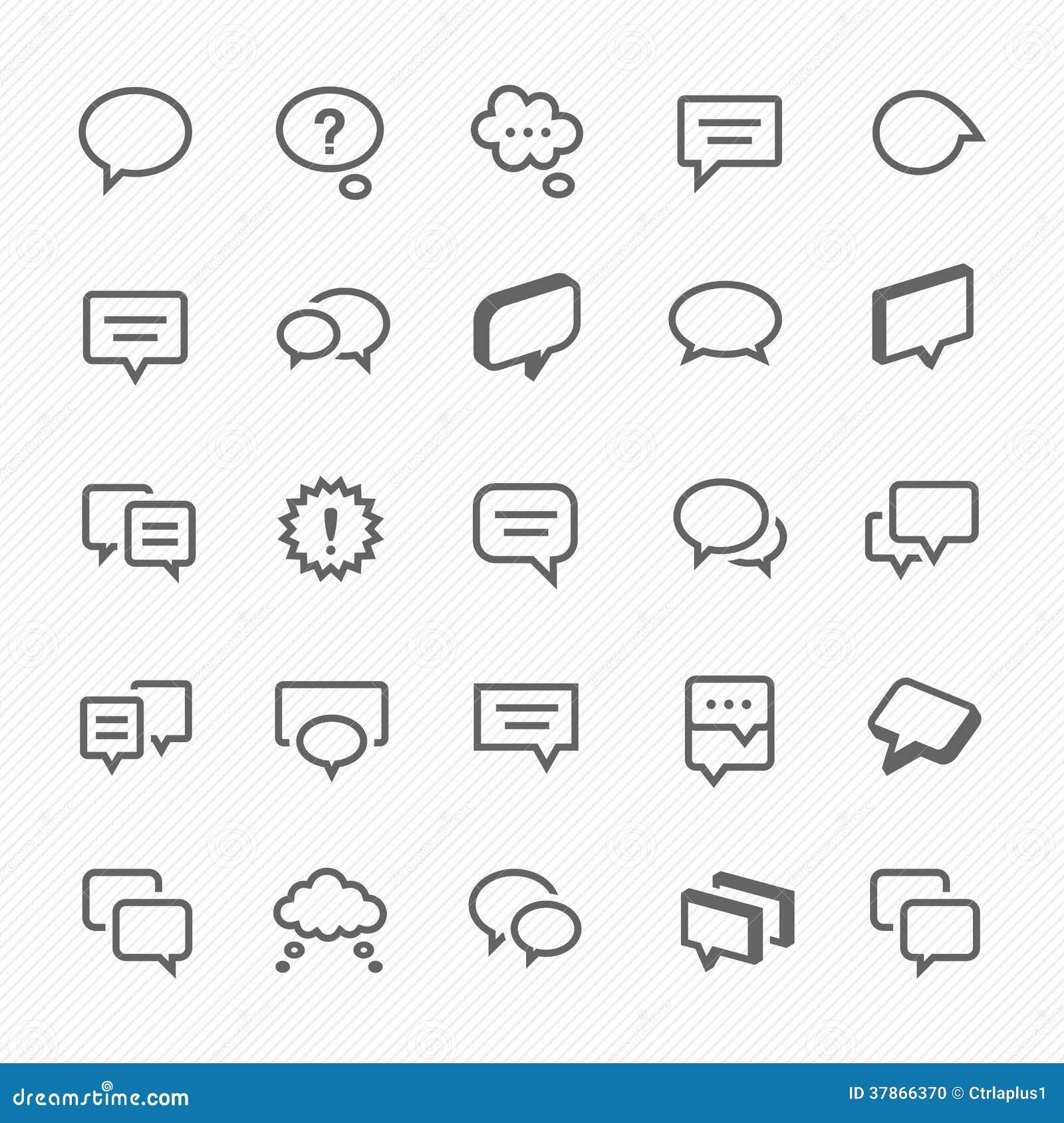 Rozmowa bąbla ikony ilustracyjne.