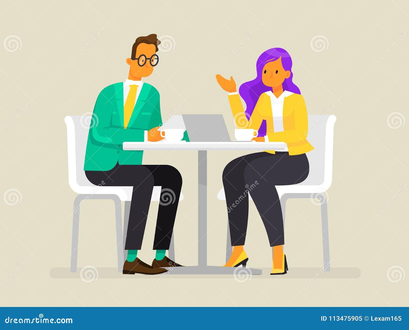 Rozmowa ludzie biznesu Mężczyzna i kobieta dyskutujemy projekt również zwrócić corel ilustracji wektora