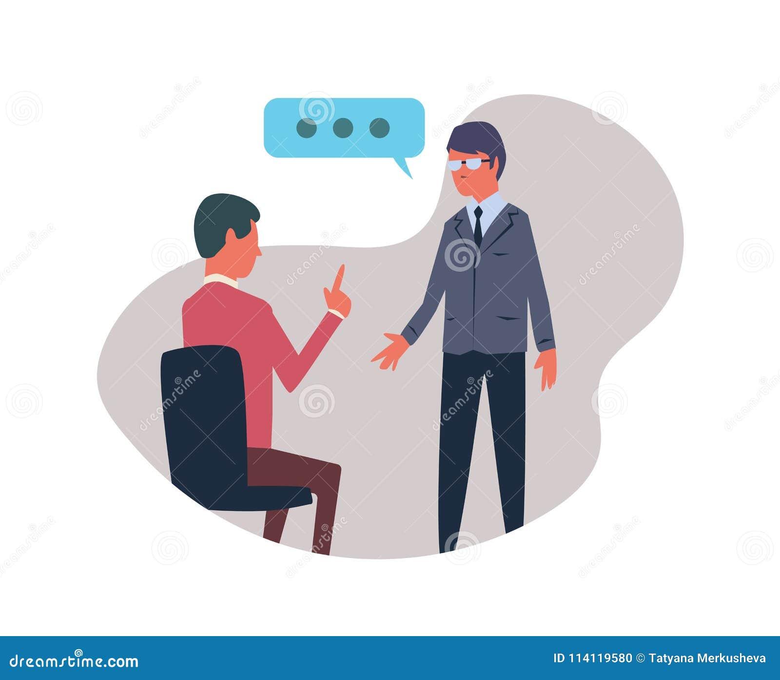 Rozmowa między dwa ludźmi Wektorowa ilustracja, odizolowywająca na białym tle