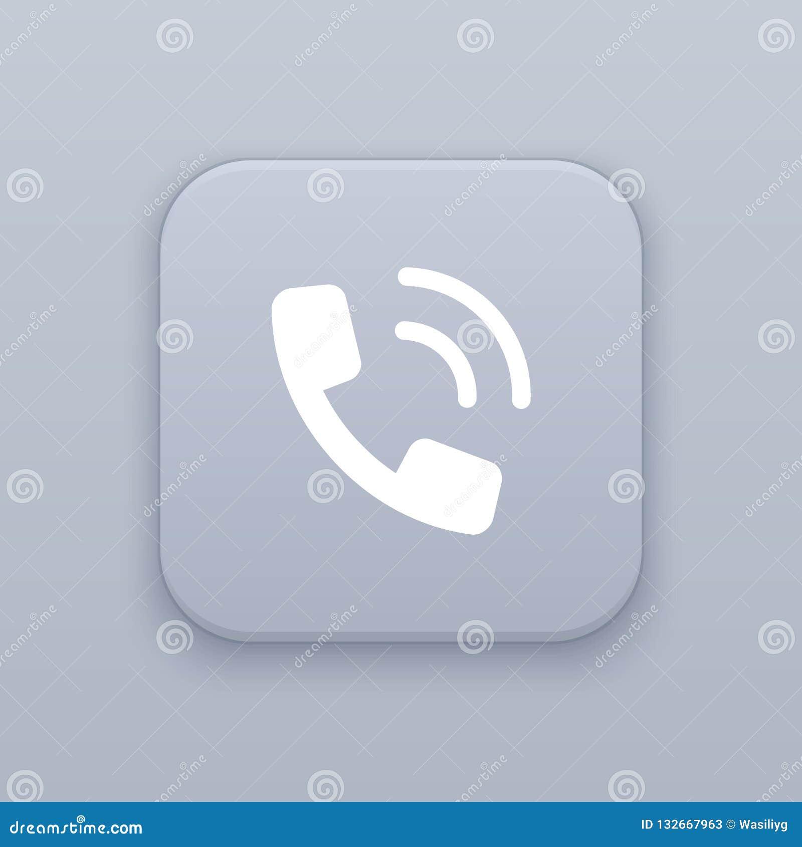 Rozmowa telefonicza, szary wektorowy guzik z białą ikoną