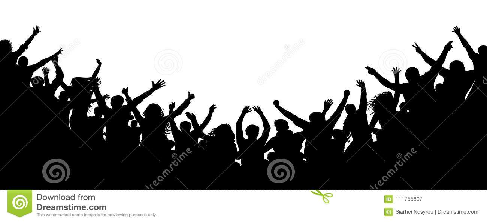 Rozochoceni ludzie tłumu oklaskuje, sylwetka Przyjęcie, aplauz Fan tana koncert, dyskoteka