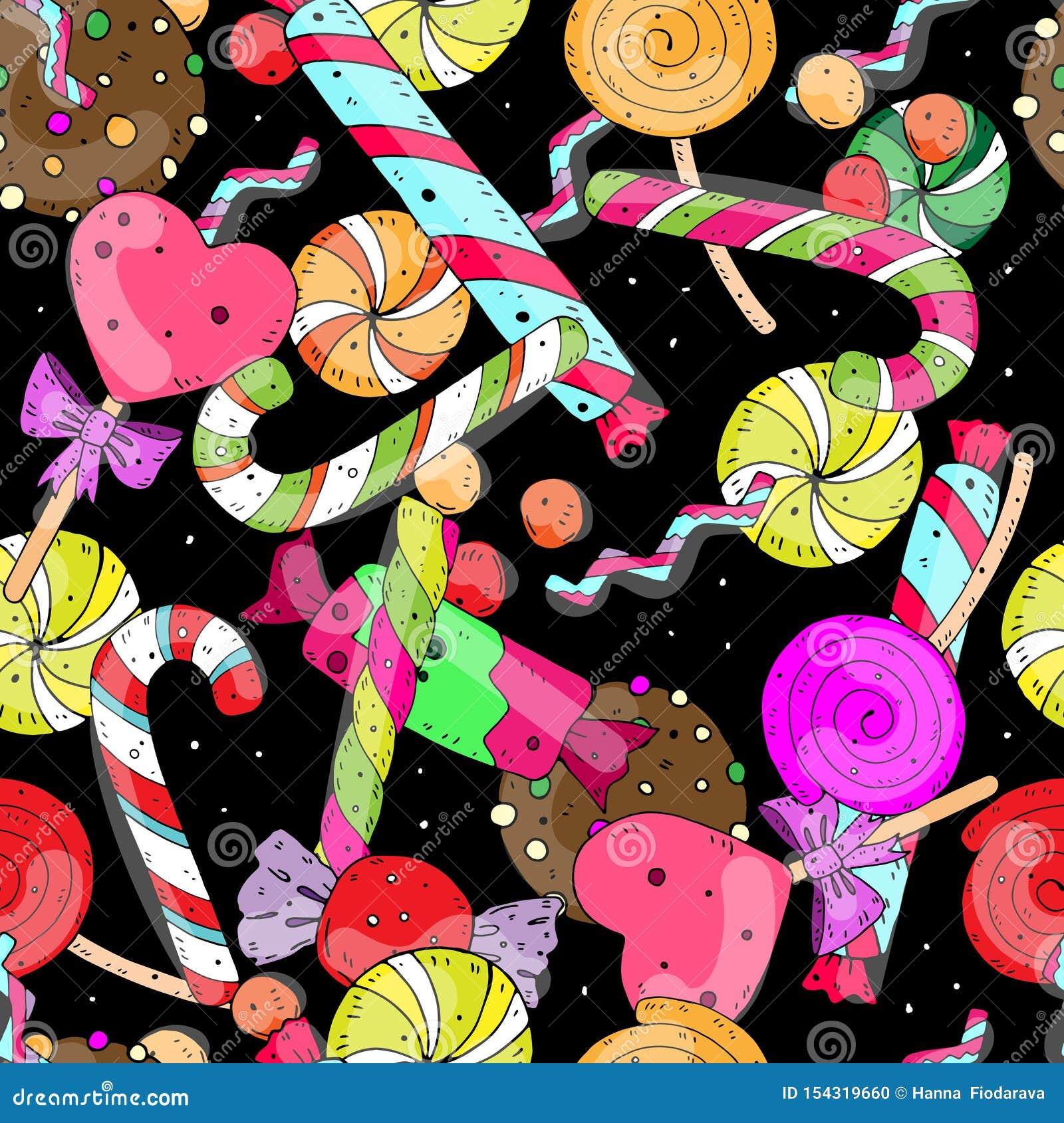 Rozochocony świąteczny wektorowy bezszwowy wzór z słodkimi kolorów cukierkami na ciemnym tle