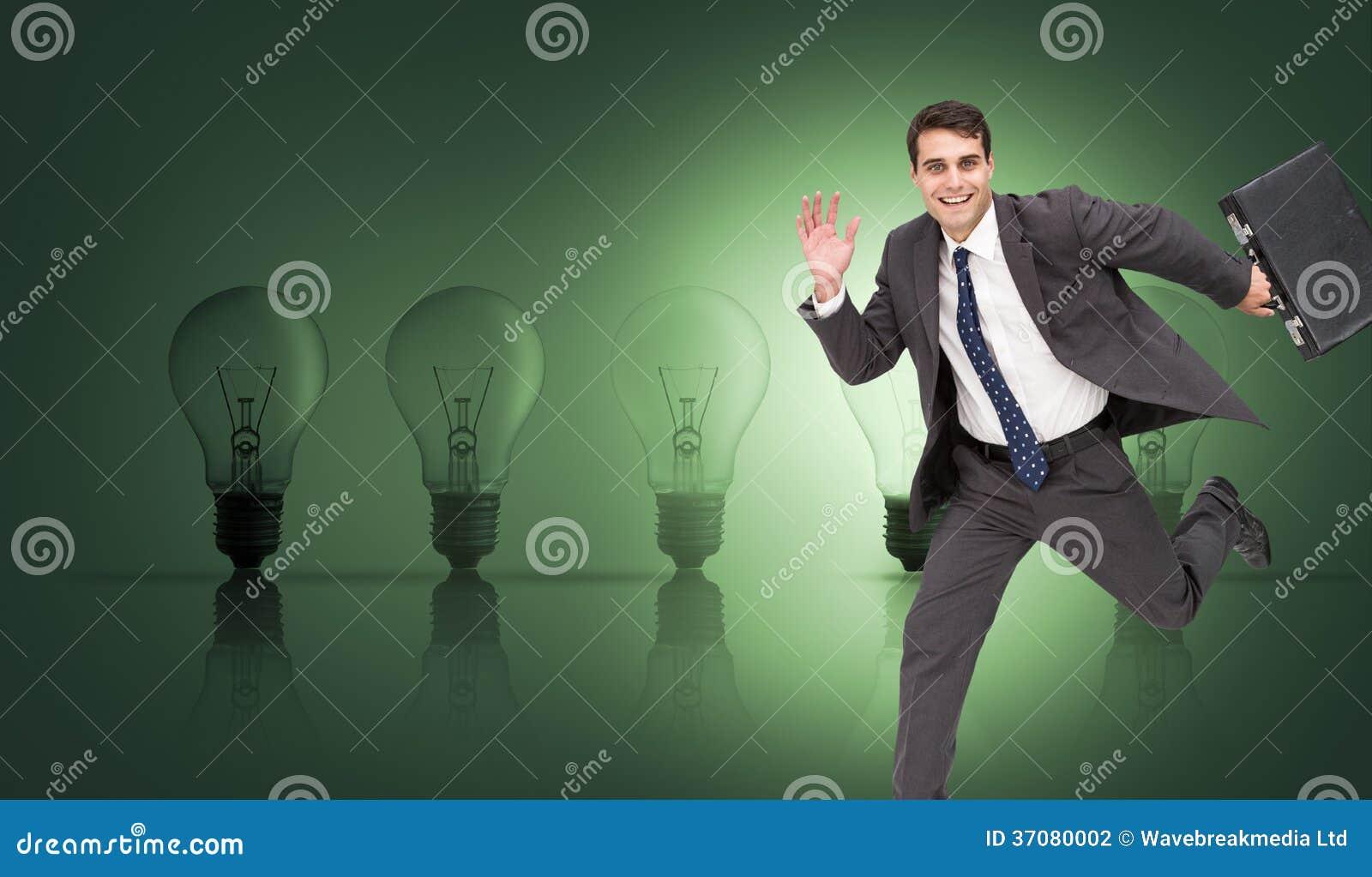 Download Rozochocony Biznesmen W Hury Zdjęcie Stock - Obraz złożonej z iluminacja, osoba: 37080002