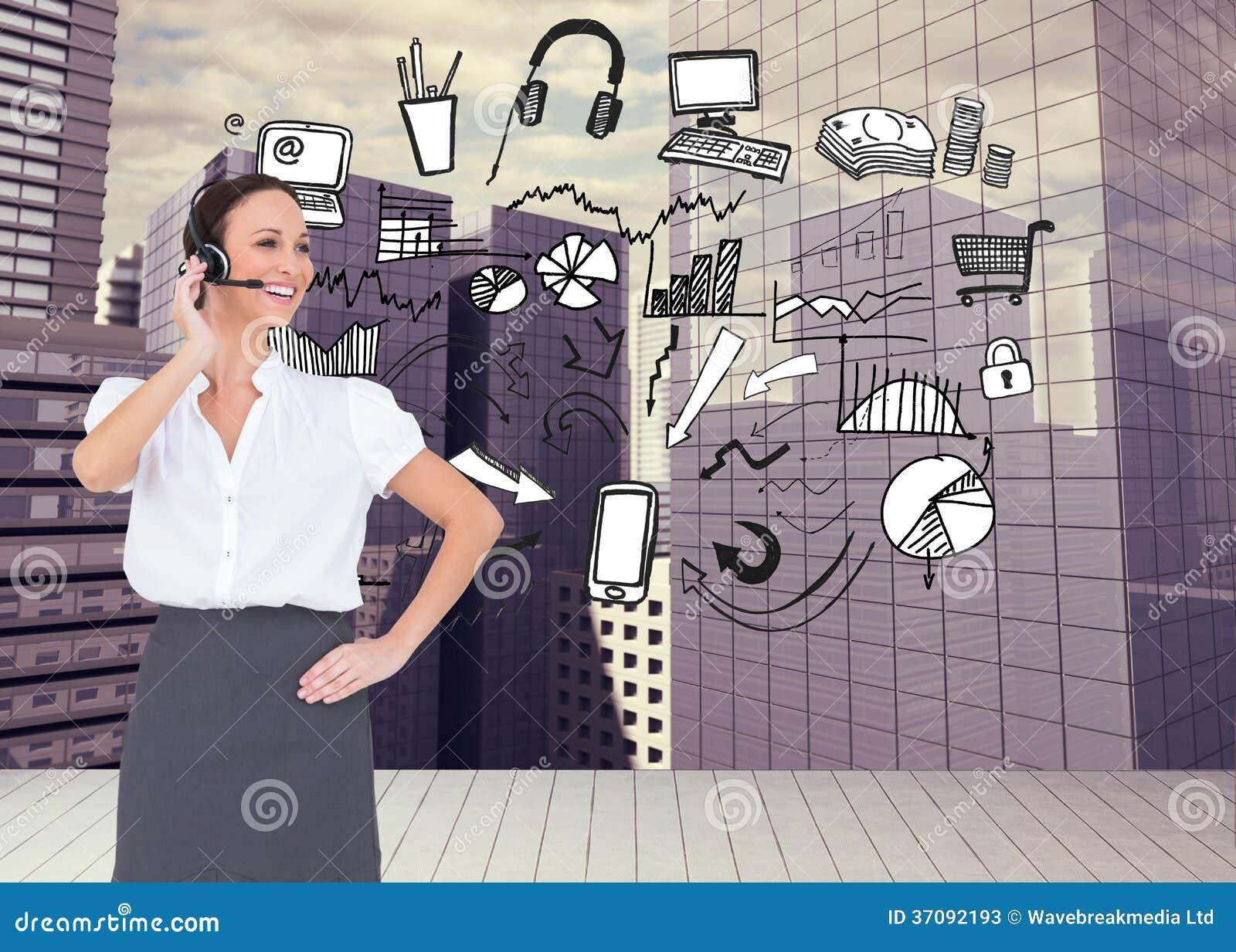 Download Rozochocony Mądrze Centrum Telefoniczne Agenta Działanie Obraz Stock - Obraz złożonej z skyscraper, komputer: 37092193